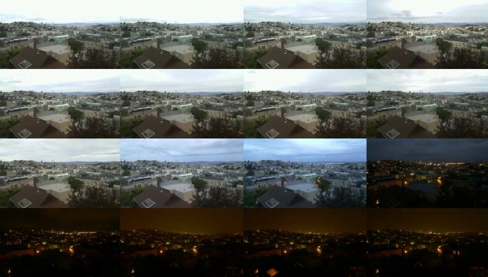 Sequence of 16 images showing a city during sunset