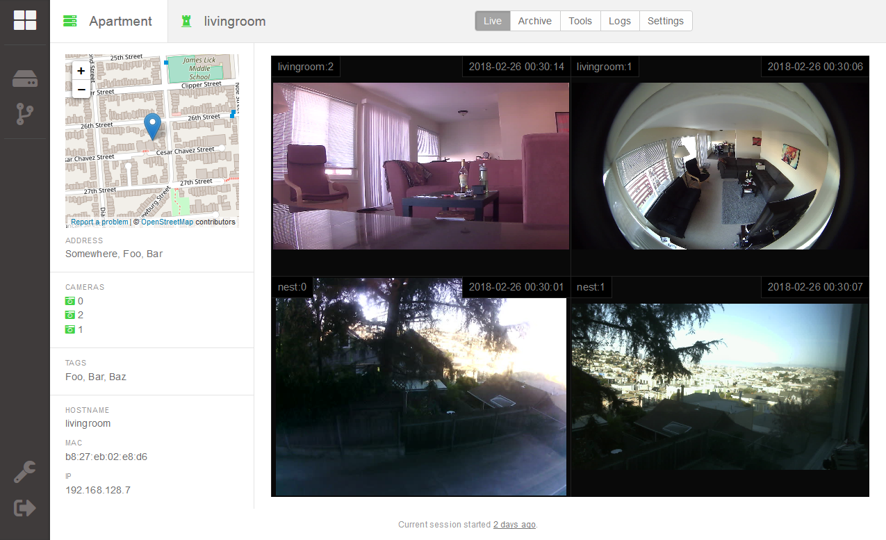 Screenshot of experimental security camera surveillance monitor web interface